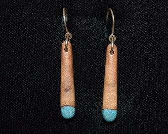 Wood Earring with Turquoise