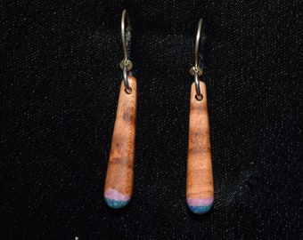 Apricot Earrings with Azurite & Sugilite