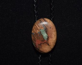 Burl Wood Bolo with Azurite, 'Pipestone' and 'Oregon Green Stone'