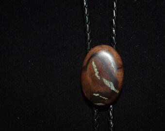 Burl Wood Bolo Tie - Black Walnut with 'Oregon Green Stone'