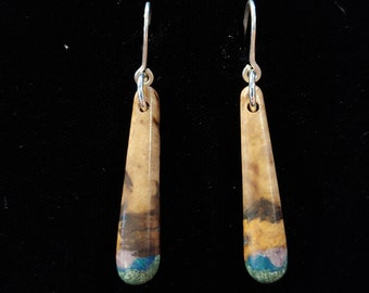 White Oak Burl Wood Earrings: Inlaid with Sugilite, Azurite & 'Oregon Green Stone'