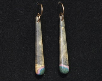 Long Dangle Earrings - Buckeye w/ Sugilite, Azurite & Oregon Green Stone