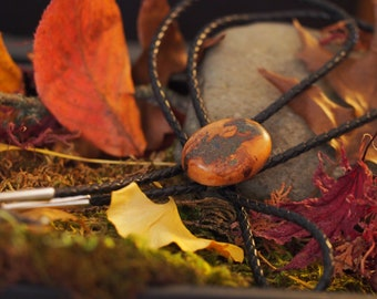 Apricot Burl Wood Bolo Tie with Azurite & 'Oregon Green Stone'