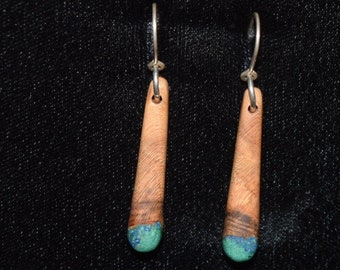 Apricot Earrings with Azurite & Malachite