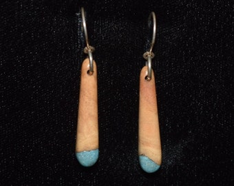 Apricot Wood Earrings with Turquoise