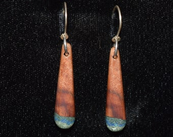 Madrone Earrings with Azurite & Two Types of 'Oregon Green Stone'