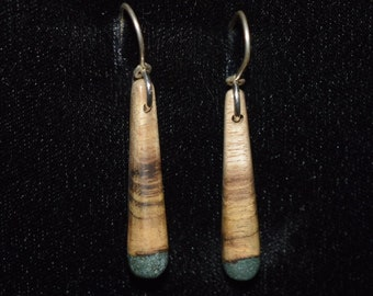 Oregon Myrtle Wood Earrings with 'Oregon Green Stone'