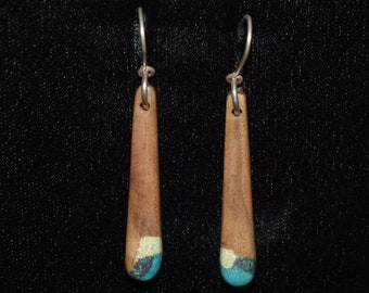 Oregon Myrtle Wood Earrings with Howlite, Azurite & Green Turquoise