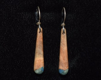 Maple Burl Earrings with Azurite & Green Turquoise