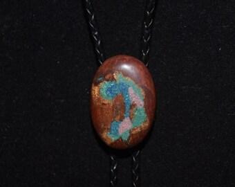 Manzanita Bolo Tie: Inlaid with Azurite, Sugilite & Chrysocolla