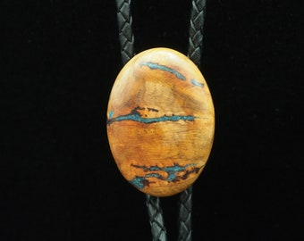 Apricot Burl Wood Bolo Tie with Azurite Inlay