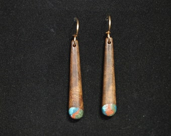 Long Dangle Earrings - Black Walnut w/ Turquoise, Azurite, Pipestone & Oregon Green Stone