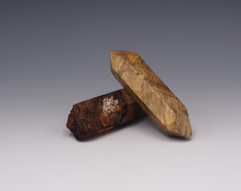 Magnetic Mineral Sculpture: Double Terminated Quartz Pair - Buckeye Burl