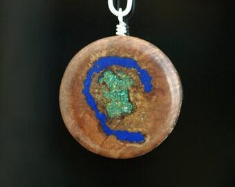 Manzantia Wood Inlaid With Lapis Lazuli & Chrysocolla