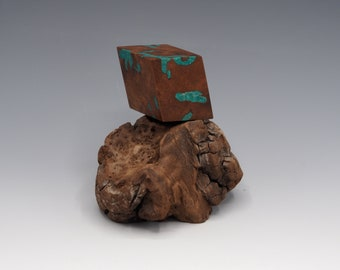 Magnetic Mineral Sculpture: Calcite Rhombohedron - Black Walnut & Chrysocolla