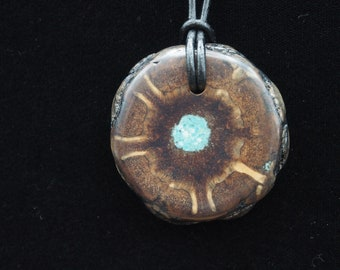Pine Cone Pendant with Turquoise