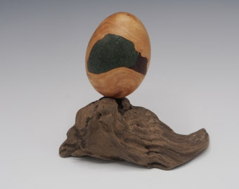 Magnetic Mineral Sculpture: Maple Burl Egg with Gemstone Inlay