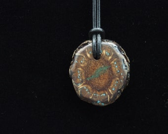 Pine Cone Pendant with Turquoise & 'Oregon Green Stone'