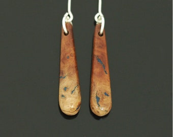 Manzanita Wood Earrings Inlaid With Lapis Lazuli