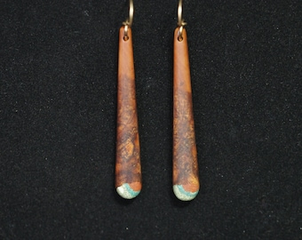 Long Dangle Earrings - Mountain Mahogany w/ Turquoise, Pipestone & Oregon Green Stone