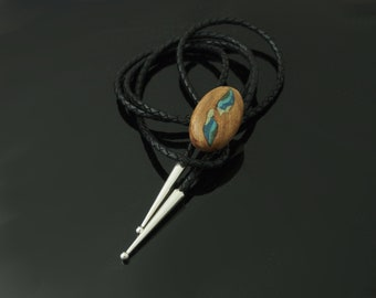 Burl Wood Bolo With Stone Inlay