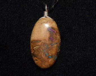 Oak Burl Wood Pendant: Inlaid With Lapis Lazuli & Sugilite