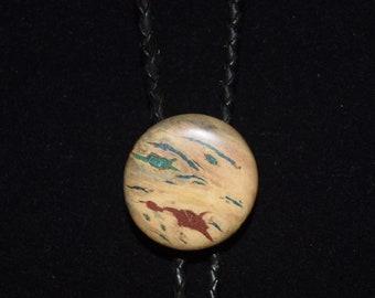 Burl Wood Bolo Tie - Buckeye Burl with Stone Inlay