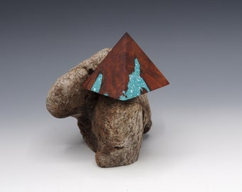 Magnetic Mineral Sculpture: Manzanita Pyramid with Gemstone Inlay
