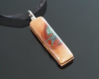 Cherry Wood Pendant Inlaid With Green Turquoise, Black Sand & 'Oregon Green Stone'