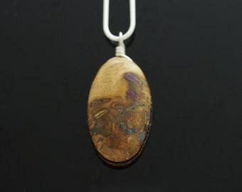 Oak Wood Inlaid With Lapis Lazuli & Sugilite