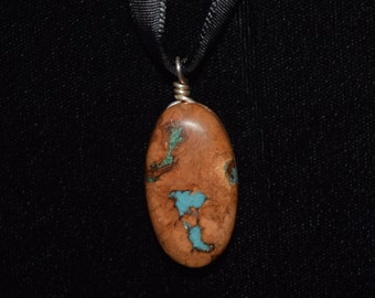 Apricot Wood with Turquoise & Chrysacolla
