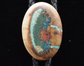 Maple Burl Wood Bolo Tie with Turquoise, Azurite, Pipestone & 'Oregon Green Stone'