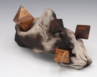 Magnetic Mineral Sculpture: Flourite Octahedron Cluster - Maple Burl & Black Walnut with Stone Inlay