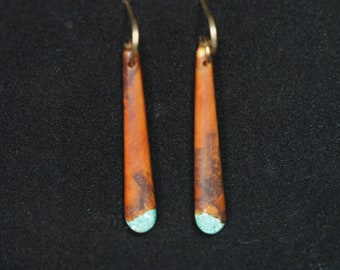 Long Dangle Earrings - Mountain Mahogany with Turquoise