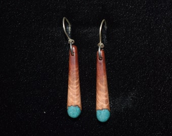 Manzanita Earrings: Inlaid with Turquoise