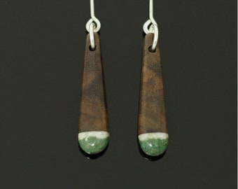 Black Walnut Earrings Inlaid With Howlite & Malachite