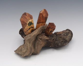 Magnetic Mineral Sculpture: Quartz Cluster - Maple Burl with Gemstone Inlay