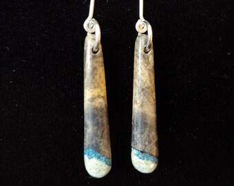 White Oak Earrings with Azurite and Howlite
