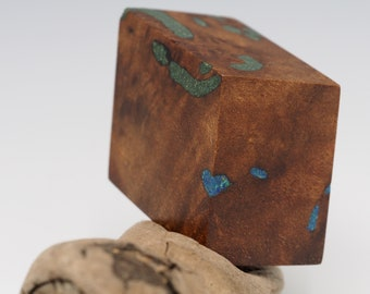 Magnetic Mineral Sculpture: Calcite Rhombohedron - Black Walnut with Gemstone Inlay