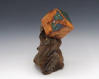 Magnetic Mineral Sculpture: Pyrite Cube - Apricot Wood with Gemstone Inlay