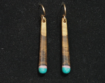 Long Dangle Earrings - Myrtle Wood with Green Turquoise & Sugilite