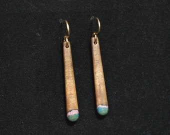 Long Dangle Earrings - Black Walnut w/ Sugilite, Azurite & Oregon Green Stone
