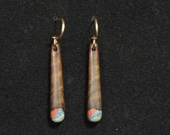 Medium Dangle Earrings - Black Walnut w/ Lapis Lazuli, 'Pipestone' & 'Oregon Green Stone'