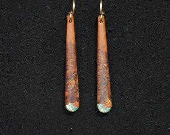 Long Dangle Earrings - Mountain Mahogany w/ Turquoise, Pipestone & Oregon Green Stone