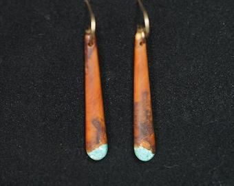 Long Dangle Earrings - Mountain Mahogany with Turquoise