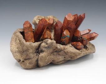Magnetic Mineral Sculpture: Quartz Geode - Manzanita Burl with Gemstone Inlay