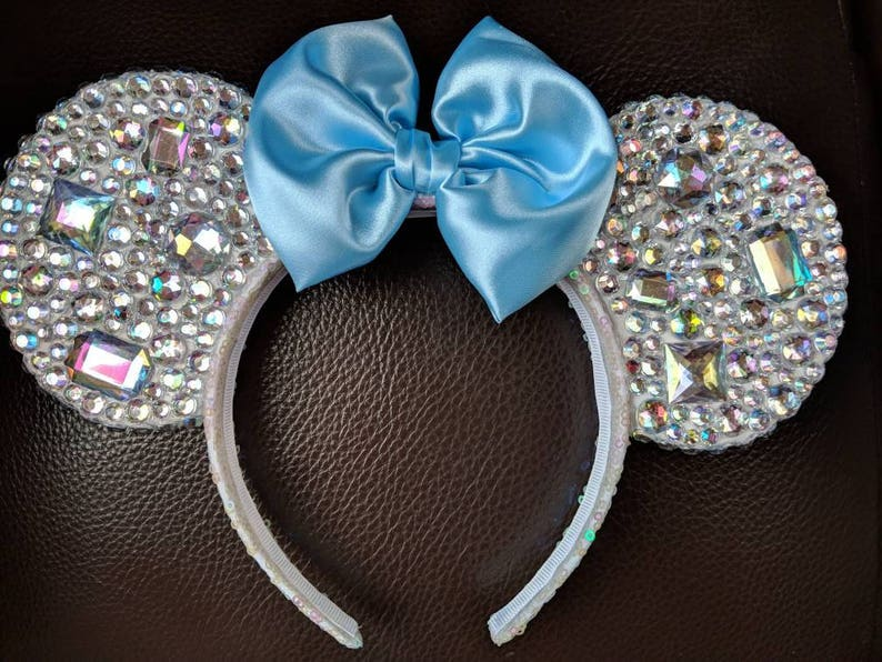 pick your color bow! Rhinestone  jeweled Minnie Mouse ears
