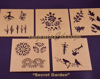 Design Stencils for Enameling - Secret Garden - 5PC Set