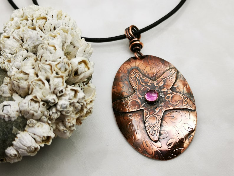 Starfish with Pink Sapphire Textured Copper Pendant