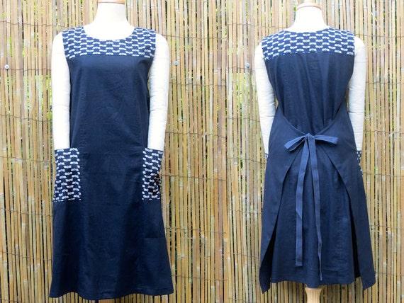 Indigo Linen Pinafore dress with Japanese print Cotton trim Pockets and Yoke